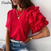 2021 rüsche Shirt Frauen Tops Solid O Hals Kurzarm Büro Hemd Damen Dames T Elegante Sommer T Shirt Weibliche streetwear