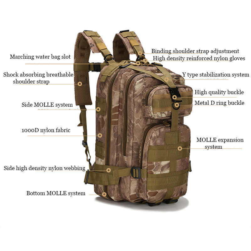Men's 25L Military Tactical Backpack,Waterproof  Molle Hiking Backpack,Sport Travel Army Bag,Outdoor Trekking Camping Backpack