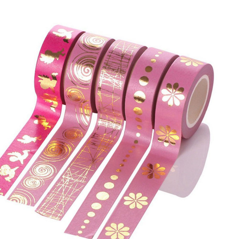 5 Rolls 15mm X 10m DIY Adhesive Washi Gold Stamping Style For Scrapbooking Tapes, Pink 2