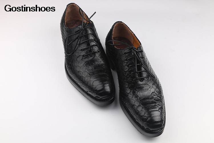 Zapato Hombre Handmade Business Formal Wear Pointed-toe Lace-up Luxury Python Skin Men's Shoes Derby Shoes Genuine Leather Solid