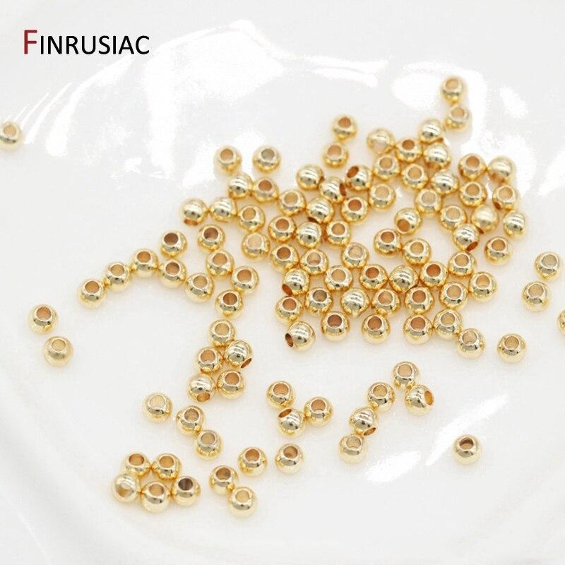 Настоящий позолоченный круглый медный Бисер для изготовления ювелирных изделий DIY Изготовление браслетов ожерелье разделительные шарики ...