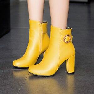 Image 4 - Bottines à talons hauts pour femme, bottines à bout rond avec fermeture éclair, blanc, jaune et noir, nouvelle collection hiver 2019