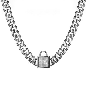 """Image 5 - 12 32"""" Fashion Stainless Steel Silver Color/Gold Cuban Curb Link Training Choke Chain Pet Dog Collar With Crystal Lock Clasp"""