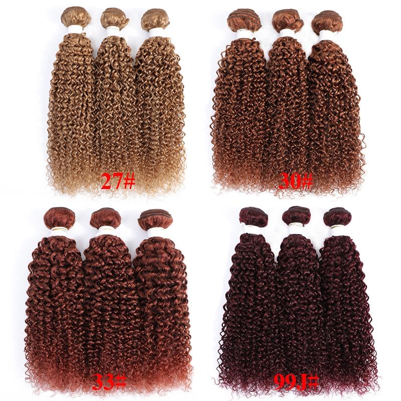 SOKU Brazilian Kinky Curly Human Hair Bundles 100% Human Hair Weave Bundles 3/4 PCS Blonde Brown RedWin Non-Remy Hair Bundles