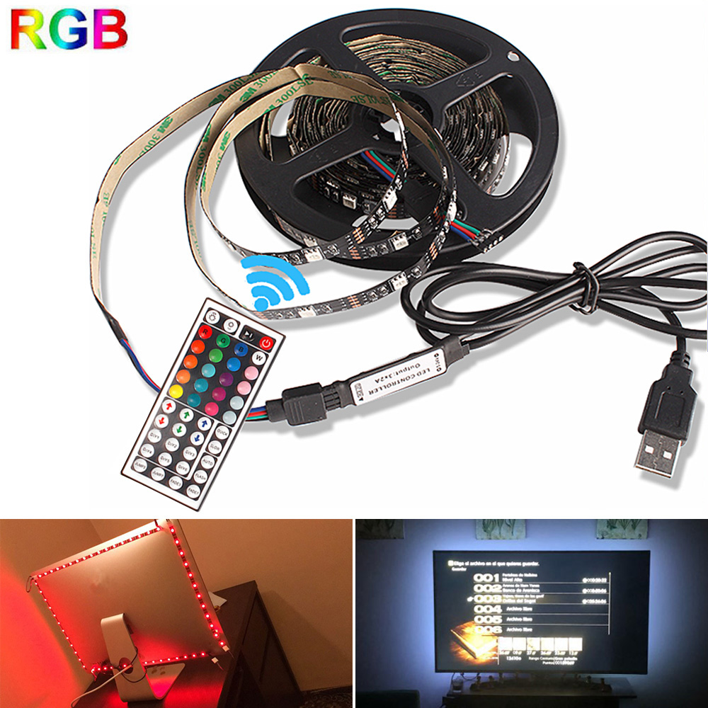 SMD 5050 USB RGB LED Strip DC 5V Flexible Neon LED Light Strips Tape 50CM 1M 2M 3M +Remote Controller For TV Background Lighting