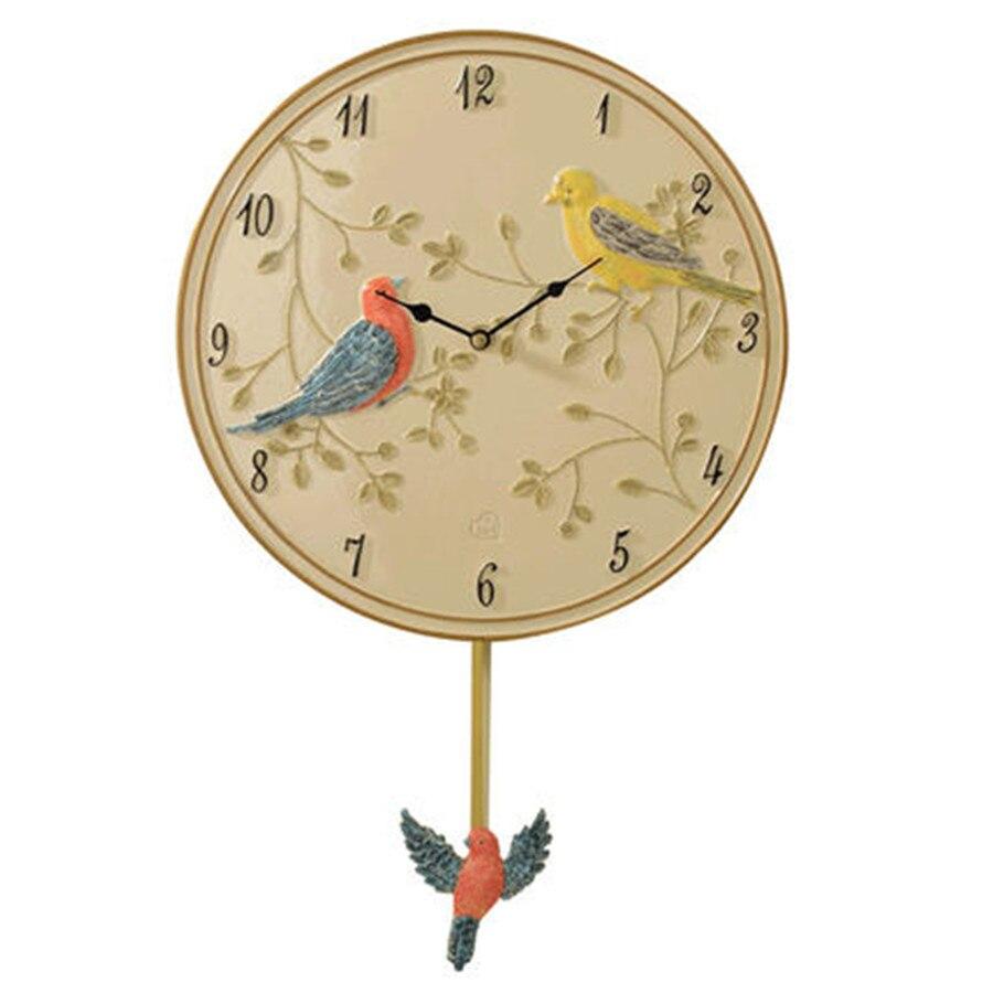 Безопасная Смола бесшумные птицы художественные настенные часы креативные простые настенные часы живопись Декор Resina классические часы де...