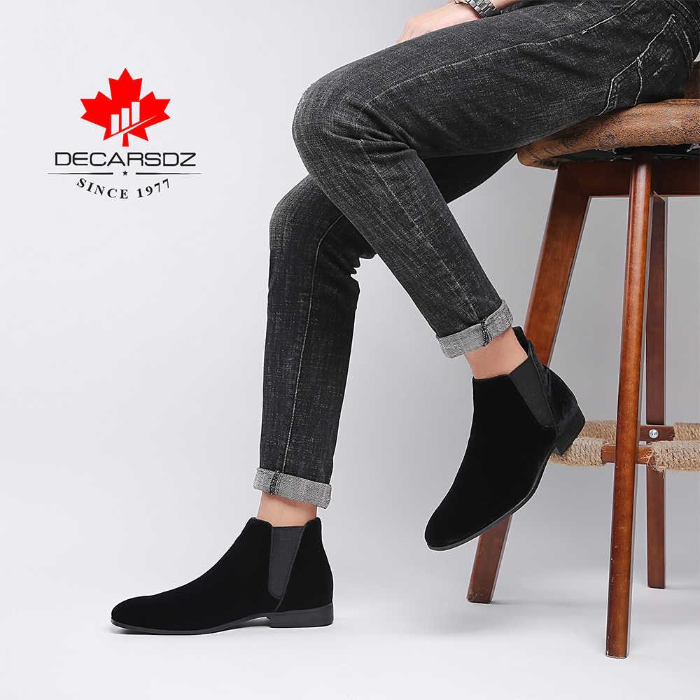 Chelsea bottes hommes 2019 automne classique daim bottes de base hommes mode à lacets décontracté Botas noir classique cheville hommes bottes