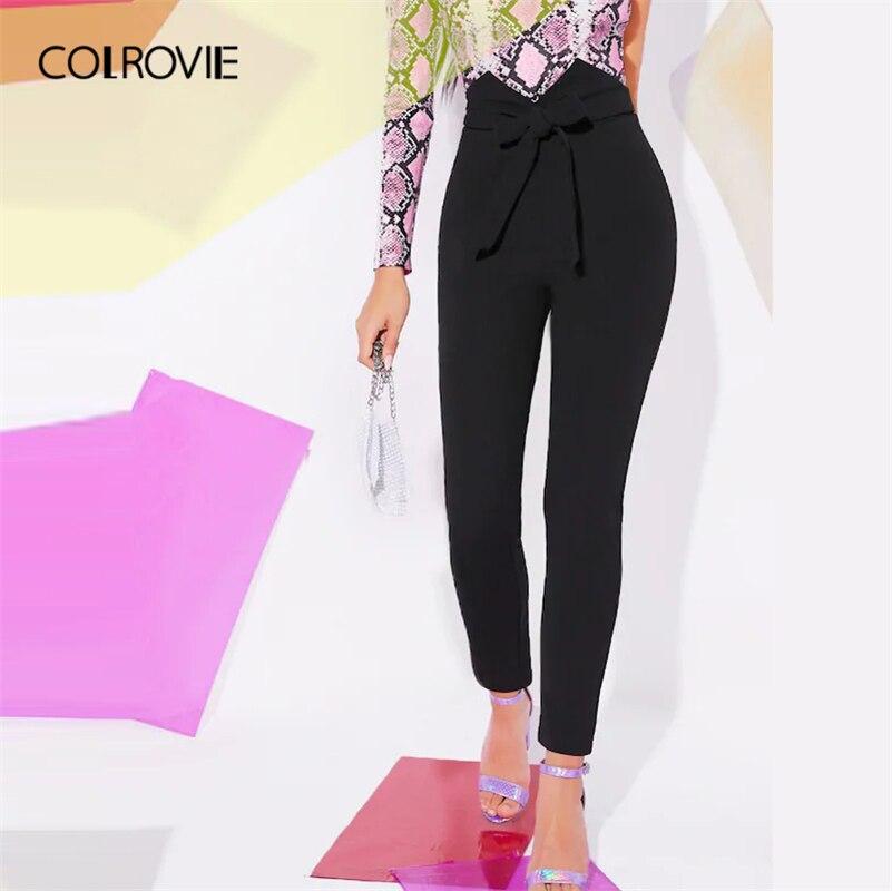 COLROVIE Black Women Casual Solid Skinny Pants 2019 Autumn Streetwear Tapered Pants Elegant Ladies Zipper Fly Long Trousers