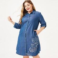 MK 2019 sonbahar artı boyutu bayan denim gömlek elbise moda bayanlar kadın zarif nakış elbiseler kadın parti gece