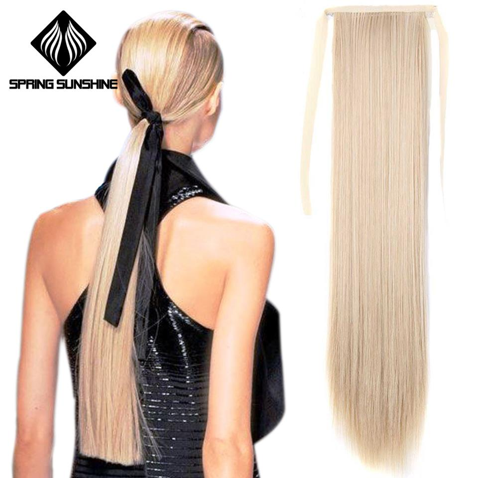 Spring Sunshine 26inch Long Straight Blonde Clip In Hair Tail False Hair Ponytail Hairpiece Synthetic Hair Extensions
