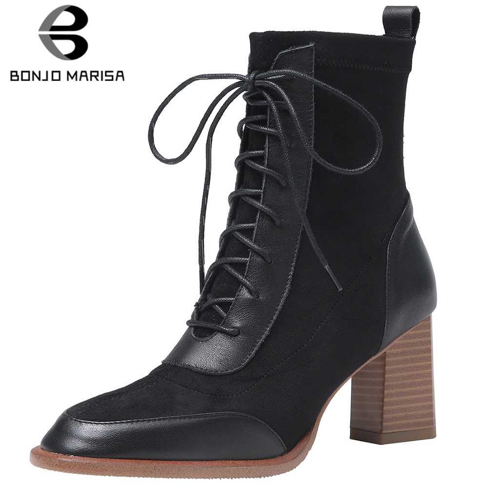 BONJOMARISA New Office Lady Elegant ยี่ห้อ Booties สุภาพสตรีของแท้หนังข้อเท้ารองเท้าผู้หญิง 2019 Mature รองเท้าส้นสูงรองเท้าผู้หญิง