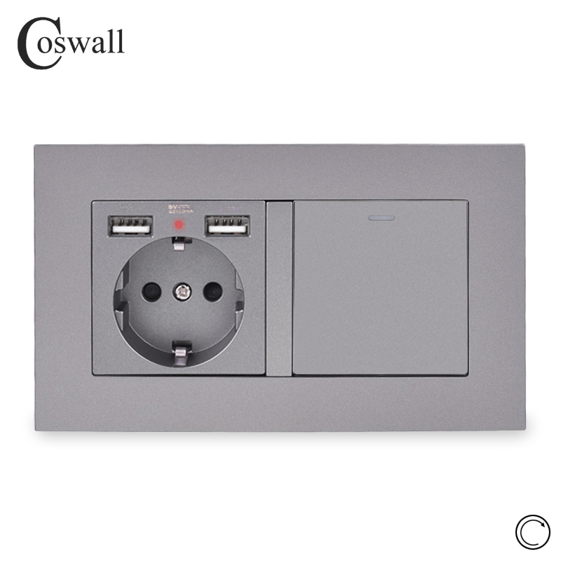 COSWALL EU Russia Spain Wall Socket With 2 USB Charge Port + 1 Gang Reset Momentary Contact Push Button Light Switch PC Panel