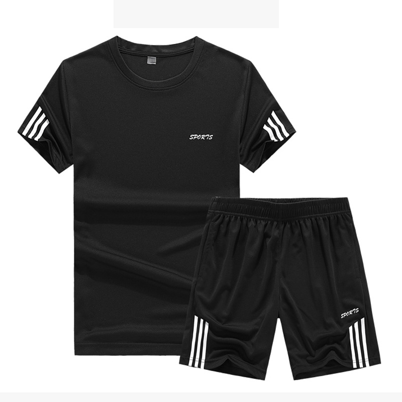 Summer Sports Set Men's Casual Jogging Suits Short Sleeved T-shirt Men Athletic Clothing Training Sportswear Basketball Wear
