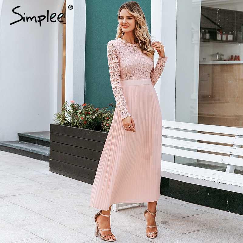 Simplee エレガントなレースのドレスの女性刺繍プリーツ o ネックロングプラスサイズドレス女性の秋の冬の女性のセクシーなパーティー vestidos