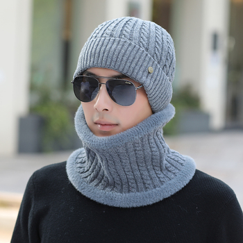 Fashion autumn winter wool hats men Hats Sets Winter Knitted Hat Scarf Set For Casual Beanies