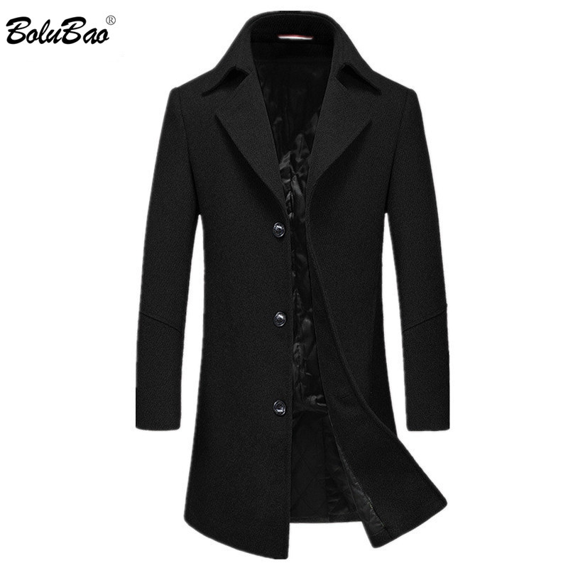 BOLUBAO Brand Men Wool Blend Coat Winter New Men's Slim Solid Business Casual Overcoat High Quality Long Section Wool Coats Male