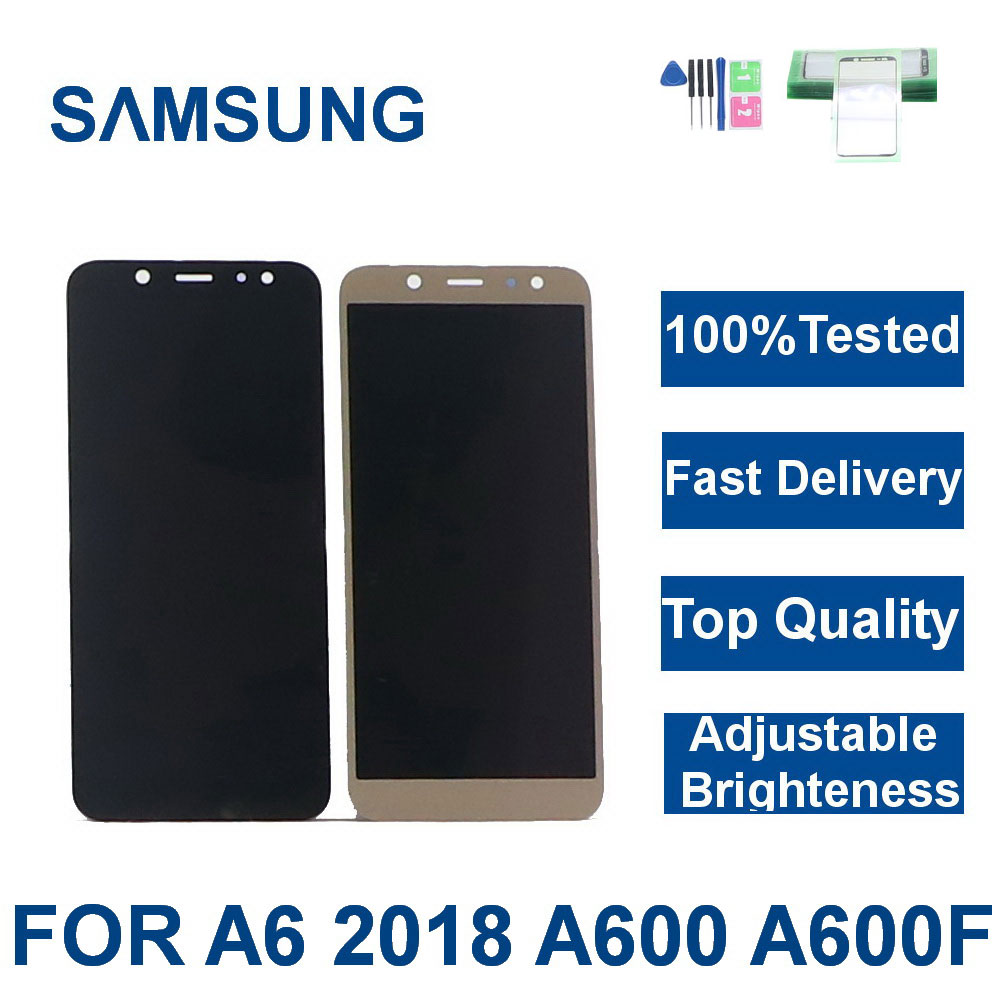 For <font><b>SAMSUNG</b></font> <font><b>Galaxy</b></font> <font><b>A6</b></font> 2018 A600 A600F A600FN LCD <font><b>Display</b></font> Touch Screen Digitizer Assembly Replacement LCD+brightness adjustment image