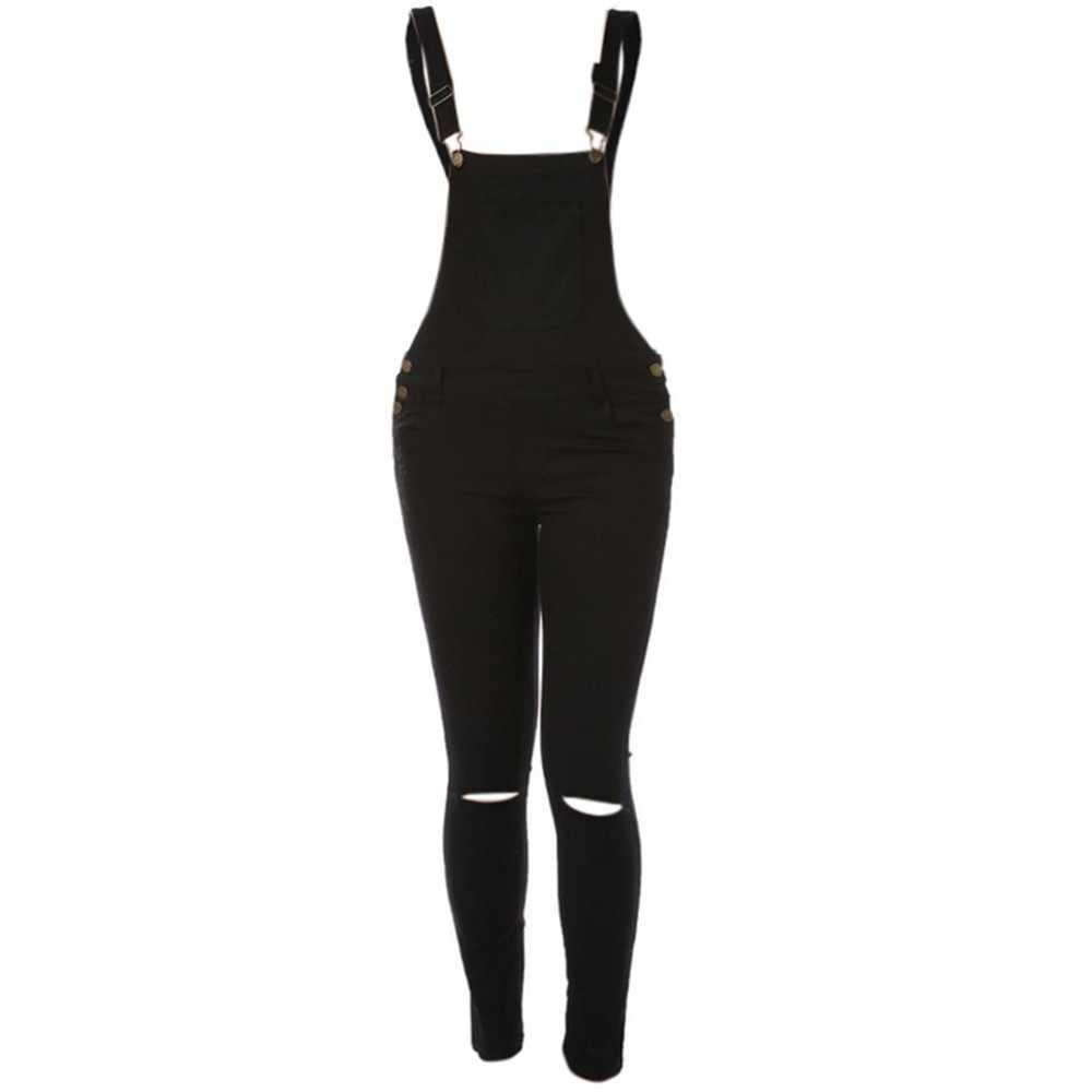 @ Frauen Overall Mode Sexy frauen Lose Denim Bib Loch Hosen Arbeitskleidung Jeans Denim Hosen Overall