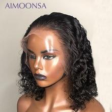 Onda de água peruca dianteira do laço 13x4 encaracolado peruca cabelo humano curto bob perucas natural linha fina cru cabelo indiano remy aimoonsa 150%