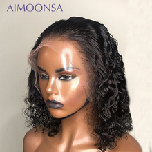 Water Wave Lace Front Wig 13x4 Curly Human Hair Wig Short Bob Wigs Natural Hairline Raw Indian Hair Remy Aimoonsa 150%