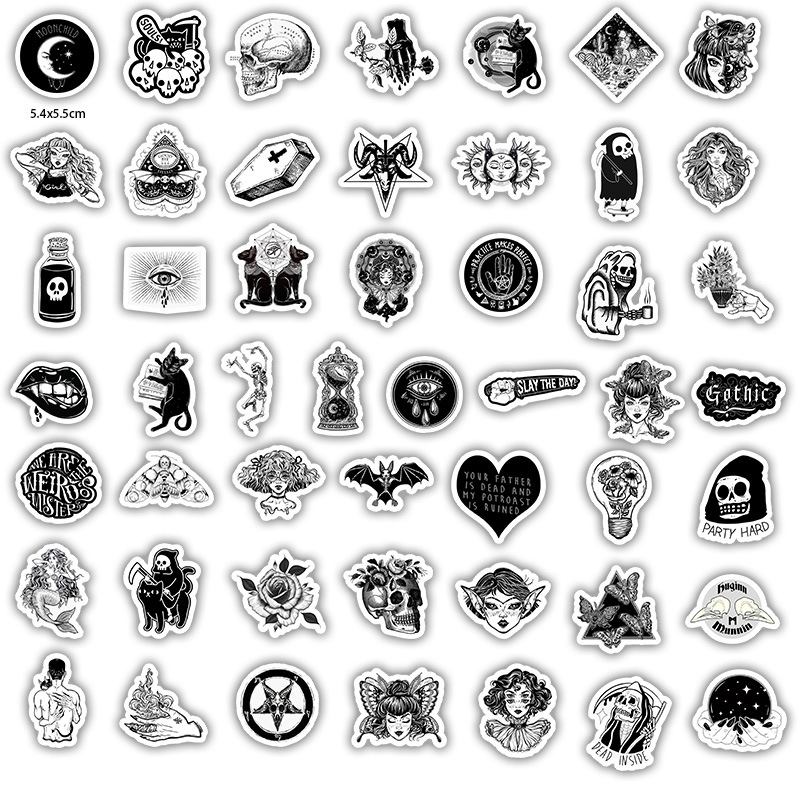 50Pcs/Set Dark Gothic Stickers Series For Laptop Luggage Toys Car Motorcycle For Kids Car Stickers Decals