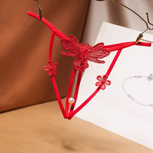G-String Tback temptation underwear female hollow embroidery thong sexy pearl pendant free open transparent sexy t pants female