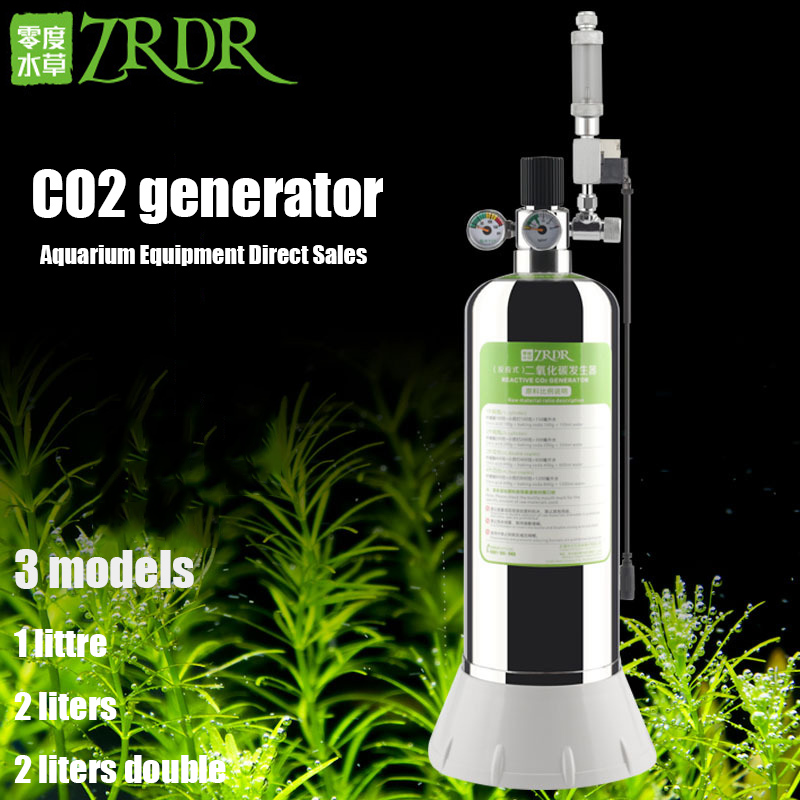 ZRDR Aquarium DIY CO2 Generator System Kit With Pressure Air Flow Adjustment Water Plant Fish Aquarium Co2 ValveCo2 gas cylinder