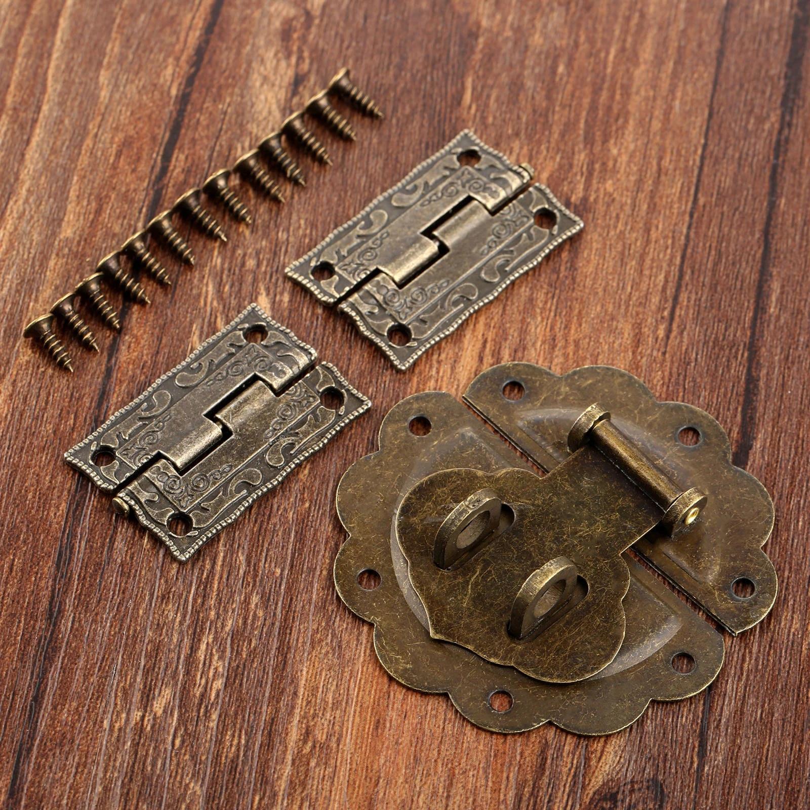 Vintage Latch Catch Hasp Chinese Lock Jewelry Box Chest Case Decorative 1 Set