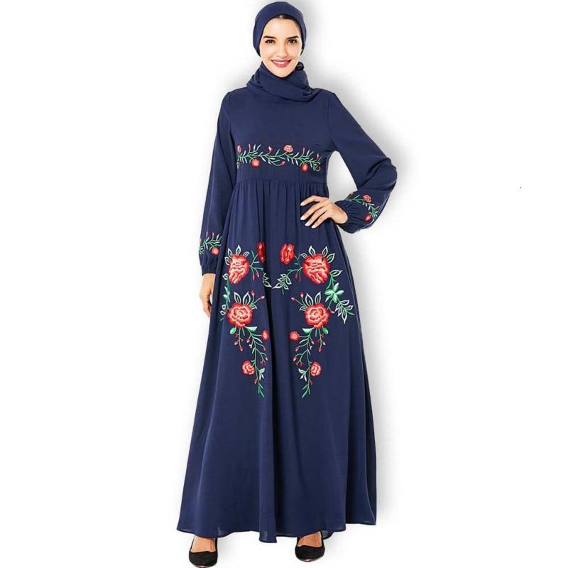 Middle East Arab Large Size Muslim Women's Navy Blue Fashion Embroidered Elegant Long Large Swing Dress Abaya Islamic Clothing