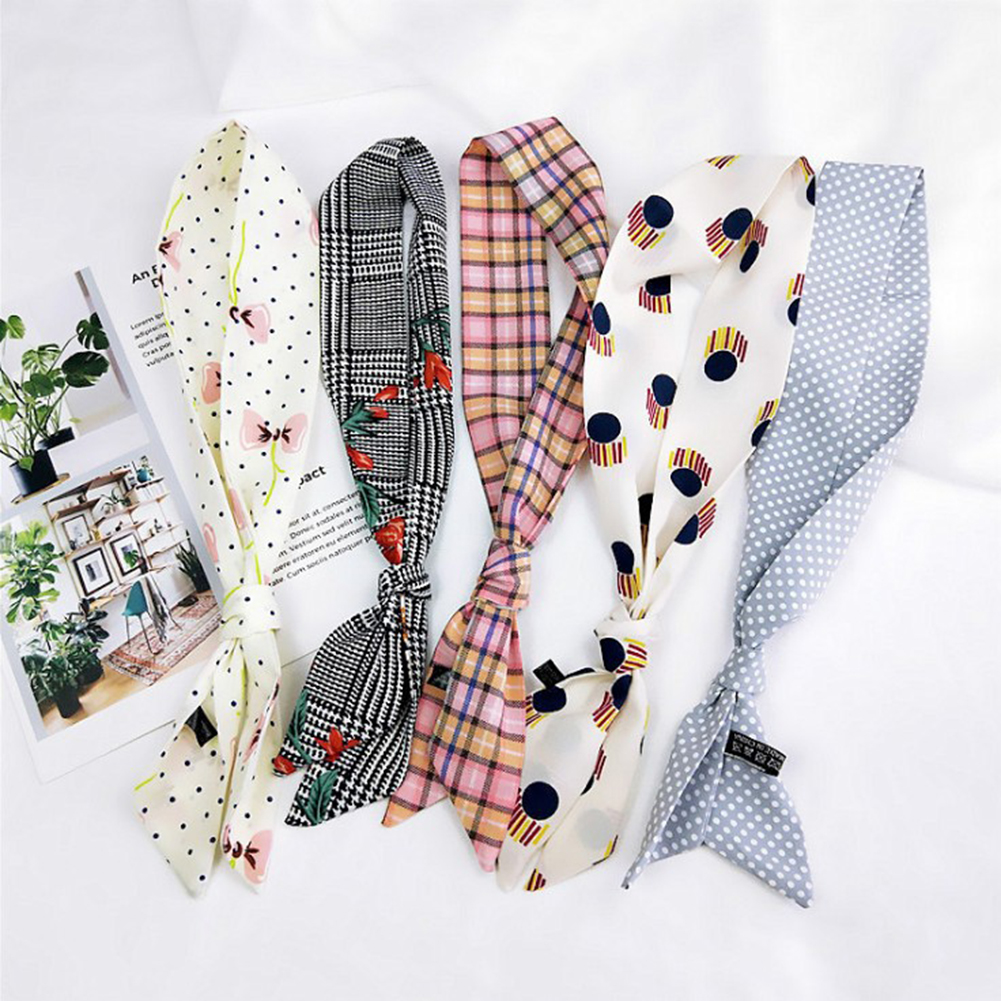 Small Scarf Soft Band Decorative Multifunctional Head Scarf Multicolor Stripe Print Kerchief Neck Women Lady Ribbon Scarf