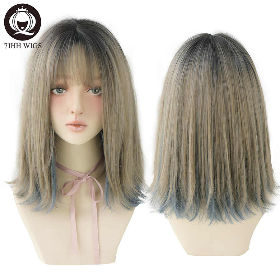 7JHH WIGS Remy Hair With Bangs Ombre Aoki Flax Ash Blue Short Synthetic Wig For Women Noble Heat Resistant Blonde Cosplay Wig