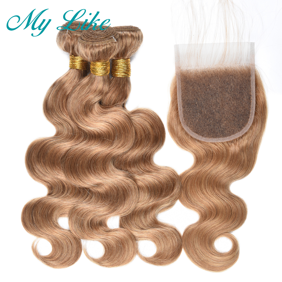 My Like Body Wave Bundles with Closure Peruvian Hair Weave 3 Bundles #27 Honey Blonde Non-remy Human Hair Bundles with Closure