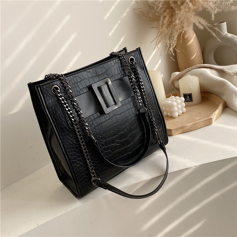 Crocodile Pattern Pu Leather Chain Shoulder Bags For Women Handbags Designer Crossbody Bags 2020 Large Capacity Tote Bag