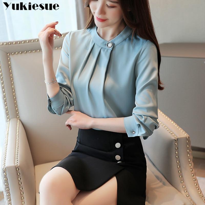 fashion womens tops and blouses stand collar office blouse women chiffon blouse shirt female long sleeve women shirts blusas 2