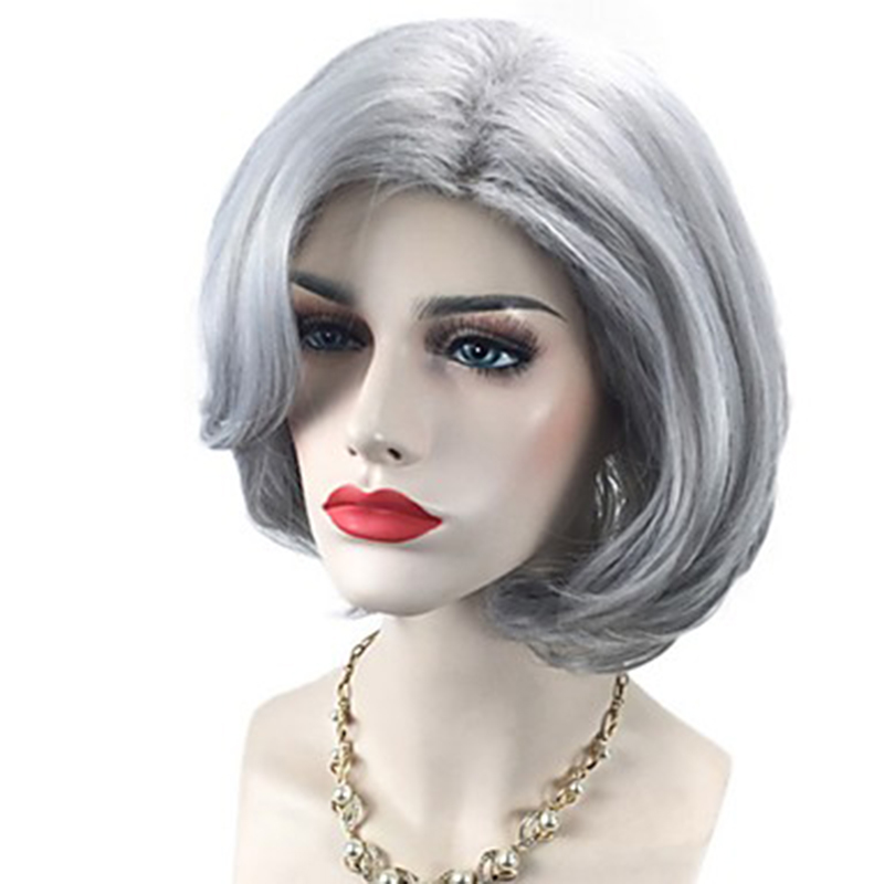 HAIRJOY  Women Synthetic Hair Wigs  Short Grey Curly Bob Side Part Wig Free Shipping