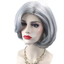 HAIRJOY  Women Synthetic Hair Wigs  Short Grey Curly Bob Side Part Wig Free Shipping adiors side part slightly curled short bob synthetic wig