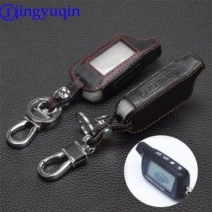 Image 1 - Jingyuqin 4 Knoppen Leather Key Cover Case X5 Voor Russische Versie Voertuig Security Twee Weg Auto Alarm Systeem Tomahawk X5 sleutelhanger
