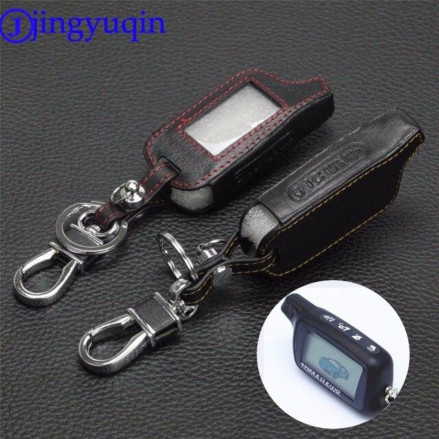 Jingyuqin 4 Knoppen Leather Key Cover Case X5 Voor Russische Versie Voertuig Security Twee Weg Auto Alarm Systeem Tomahawk X5 sleutelhanger