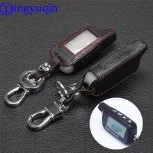 Jingyuqin 4 düğmeler deri anahtar kapağı kılıfı X5 rusça sürüm araç güvenlik iki yönlü araç Alarm sistemi TOMAHAWK X5 anahtarlık
