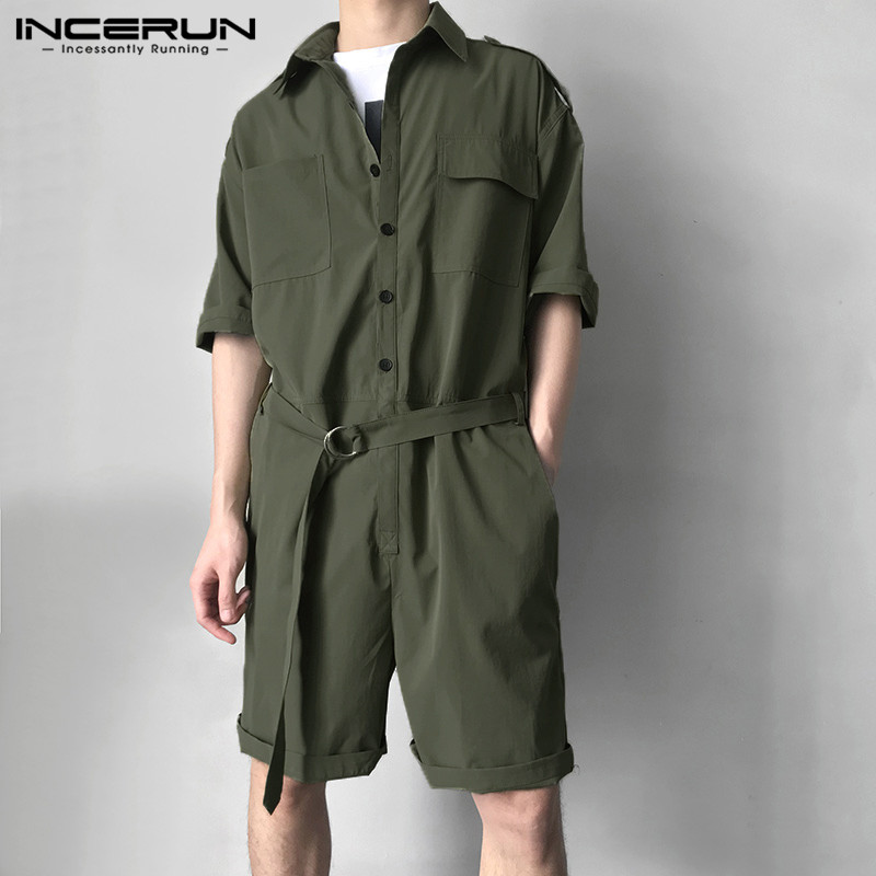 INCERUN Men Cargo Overalls With Belt Half Sleeve Jumpsuit Fashion Solid Streetwear Casual Playsuit Shorts Rompers Men Harajuku