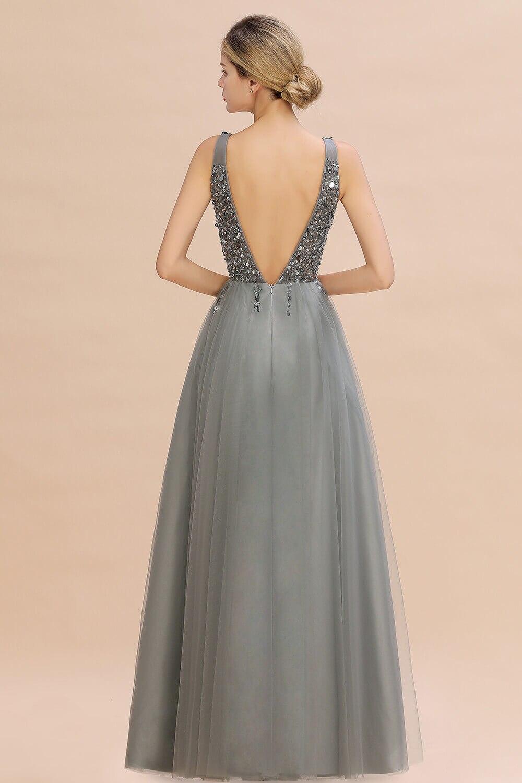 Luxo contas de prata cristais tule vestido de noite 2020 robe de soiree sexy v voltar lantejoulas vestidos de baile noite - 2
