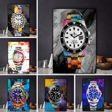 Estilo nórdico modular arte de arte colorida relógio pintura da lona cartazes e cópias da parede fotos para sala estar decoração casa