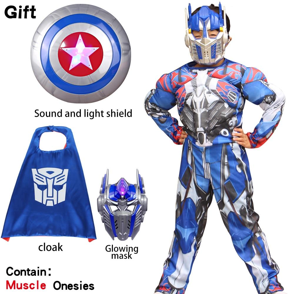 Transformers Superhero Optimus Prime Hornet Muscle Cosplay Costume Children's Mask Tights Full Set Children's Carnival Halloween
