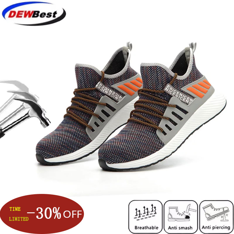 2019 New Work Safety Shoes Fashion Sneakers Ultra light Soft Bottom Men Breathable Anti smashing Industrial Steel Toe Work Boots-in Safety Shoe Boots from Security & Protection