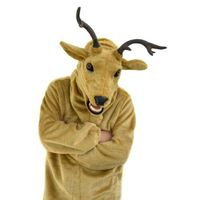 Elk Mascot Costume Fursuit Animal Mask Move Mouth Cosplay Party Game Fancy Dress Adult Size Suit Advertising Lifelike Halloween