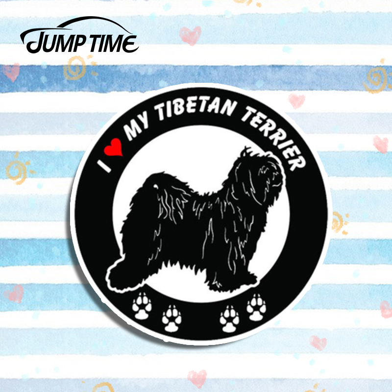 Jump Time 13cm X 13cm I Love My Tibetan Terrier Dog ROUND Bumper Vinyl Stickers Decals Car Styling Car Window Motor Accessories