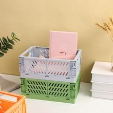 JIANWU de alta capacidad de plástico plegable cesta de escritorio para almacenamiento organizador de cinta para diarios caja de almacenamiento de artículos diversos para la papelería de la escuela