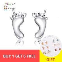 StrollGirl hot sale lovely footprint eardrop 925 sterling silver earrings fashion jewelry making for women&girl gifts
