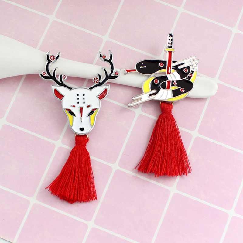 2020 nowości Tassel broszka japoński Ninja królik ogień Fox wąż Kendo Sika Deer emalia Pin plecak odznaka prezenty dla przyjaciół