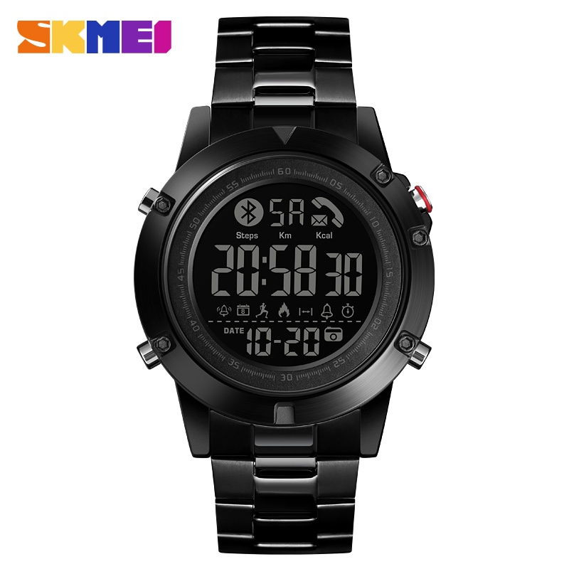 SKMEI Smart Bluetooth Creative Fashion Sports Wrist Watch Men Steel Strap Calorie Pedometer Remote Camera Digital Watches